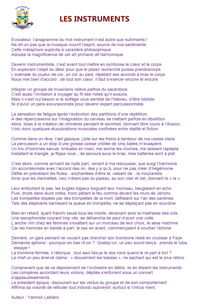 Texte lu par Yannick Leblanc